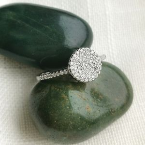 NWT, Sterling Silver CZ pave disc ring sz 8